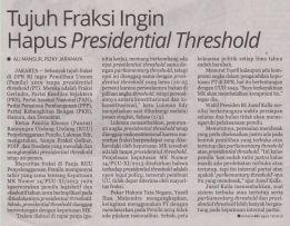Republika, Tujuh Fraksi Ingin Hapus 'Presidential Threshold'_3MAY2017